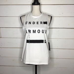 New Under Armour Muscle Tank Top White/Black